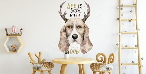 Sticker Hund im skandinavischen Stil