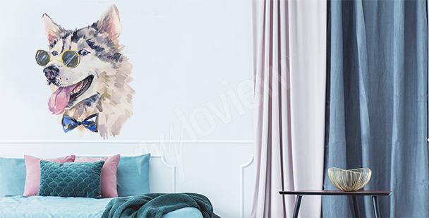 Sticker Husky mit Brille