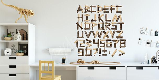 Sticker Imitation von Holzbuchstaben