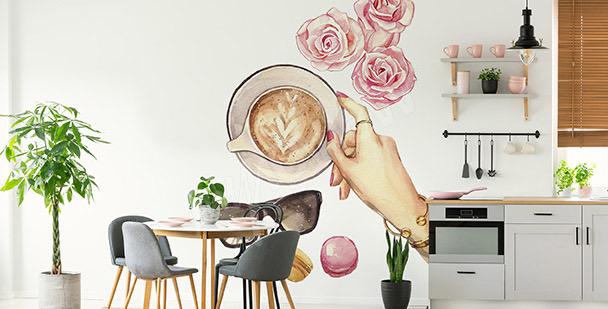 Sticker Kaffee und Rosen