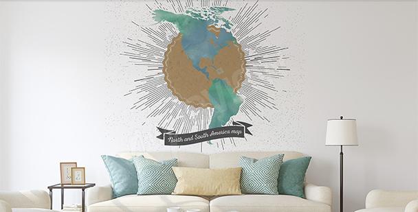 Sticker Karte der beiden Amerikas Retro