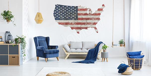 Sticker Karte Retro USA