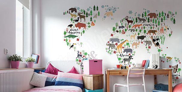 Sticker Kinderzimmer: Tierkarte