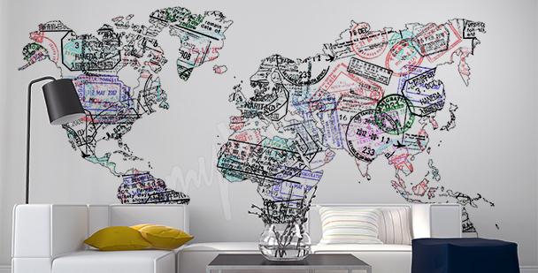Sticker Landkarte aus Passstempeln
