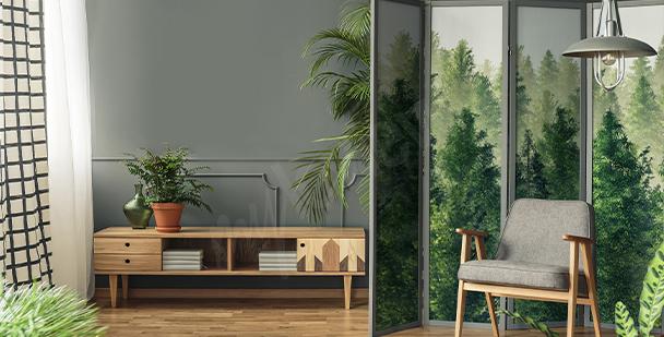 Sticker mit Aquarell-Wald