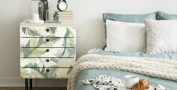 Sticker mit Blättern fürs Schlafzimmer
