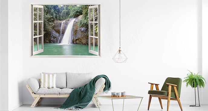 Sticker mit Blick auf einen Wasserfall