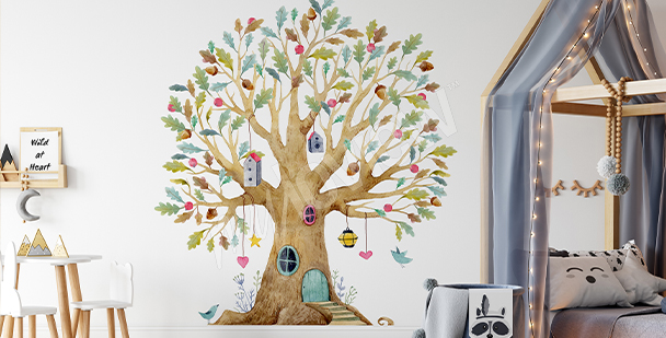 Sticker mit buntem Baum