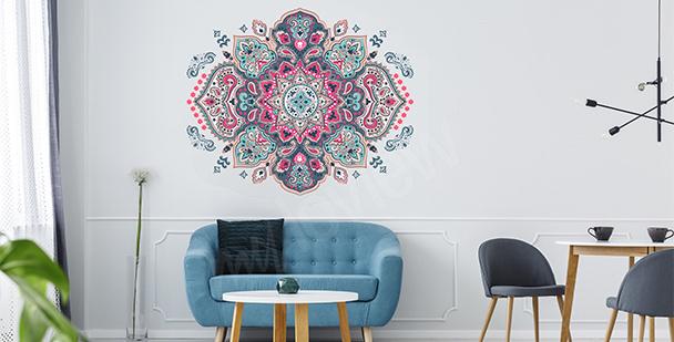 Sticker mit buntem Mandala