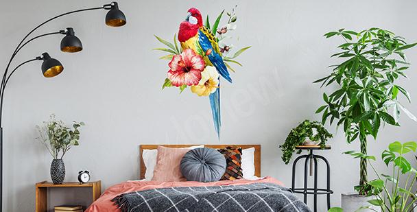 Sticker mit einem bunten Papagei