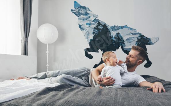Sticker mit einem Wolf fürs Schlafzimmer