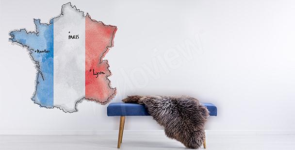 Sticker mit einer Karte von Frankreich