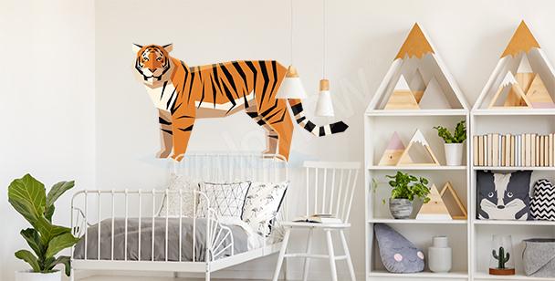 Sticker mit geometrischem Tigermotiv