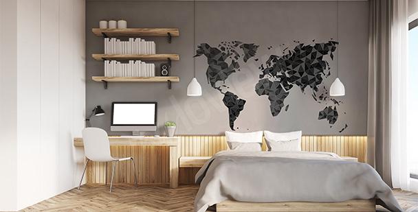 Sticker mit geometrischer Weltkarte