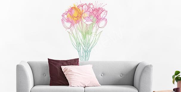 Sticker mit Kreide gemalte Tulpen