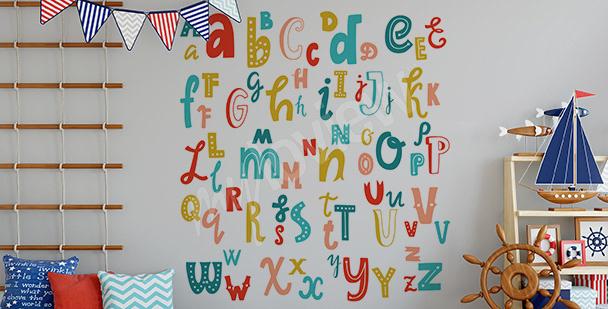 Sticker mit lateinischem Alphabet