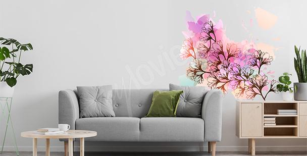 Sticker mit Magnolie fürs Wohnzimmer