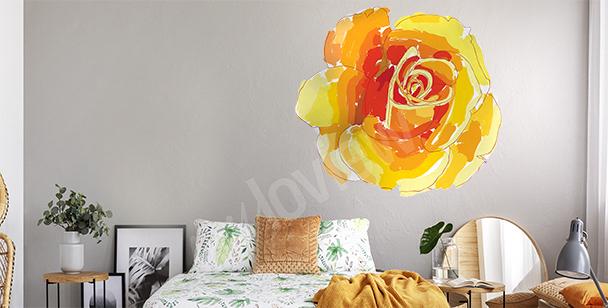 Sticker mit orangefarbener Rose