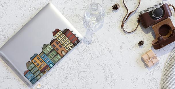 Sticker mit schmalen Gebäuden