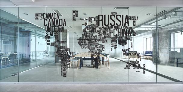 Sticker mit Weltkarte