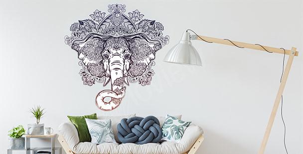 Sticker Ornament mit einem Elefanten