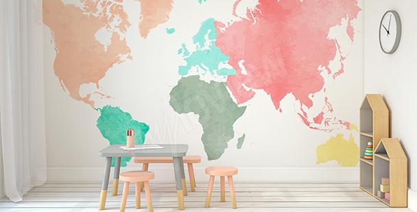 Sticker pastellfarbene Kontinente