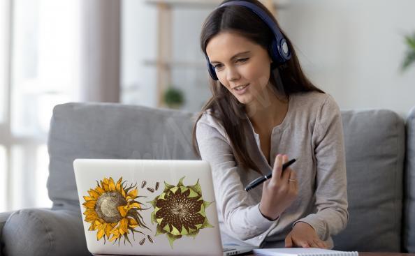 Sticker Retro Blumen für den Laptop