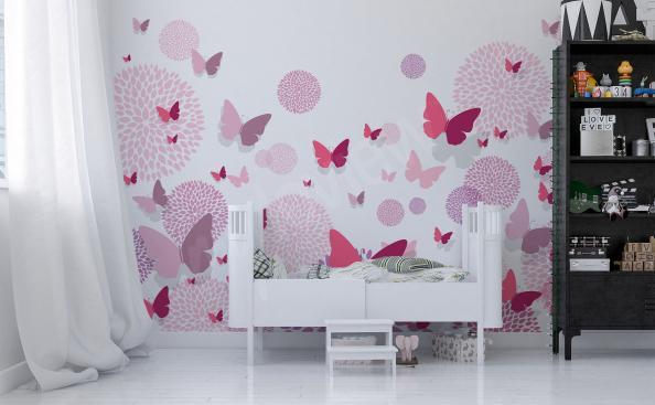 Sticker Rosafarbene Schmetterlinge