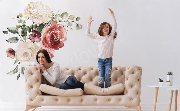 Sticker Rosen und Hortensien