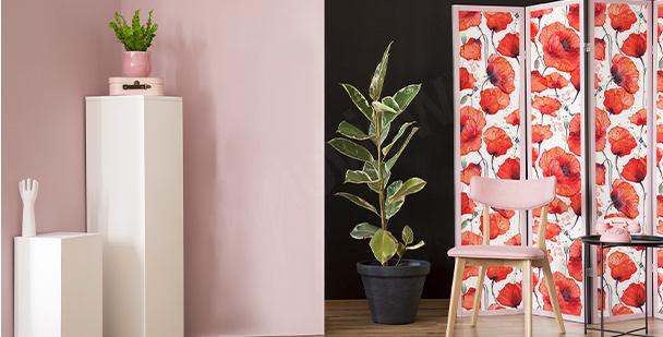 Sticker rote Blumen im Wohnzimmer