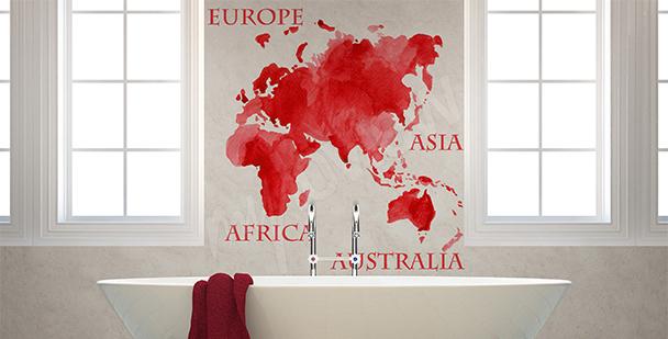 Sticker rote Karte Kontinente