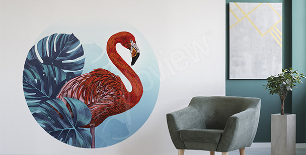 Sticker roter Flamingo