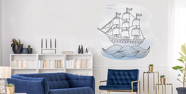 Sticker Schiff im Meer