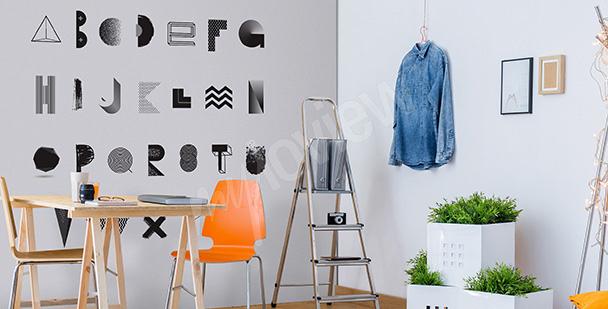 Sticker schwarz-weißes Alphabet