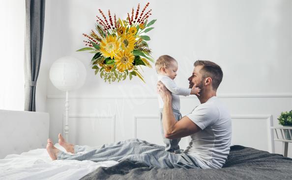 Sticker Sonnenblumen in einem Strauß