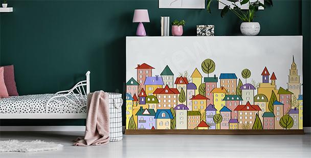 Sticker Stadt aus dem Cartoon