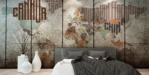 Sticker typographische Weltkarte