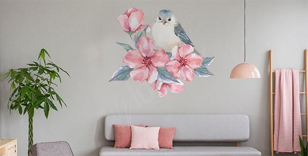 Sticker Vogel und Blumen