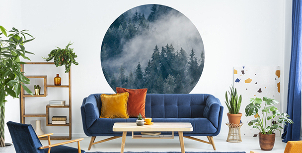 Sticker Wald im Nebel