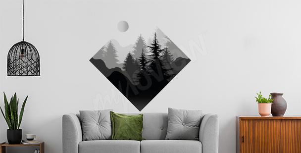 Sticker Wald in geometrischer Form
