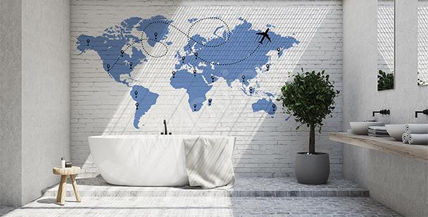 Sticker Weltlandkarte mit Flugzeug