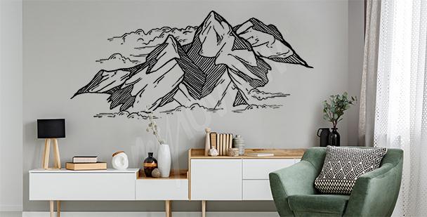 Sticker Zeichnung von Bergen