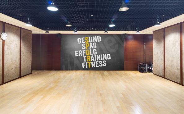 Typografische Fototapete fürs Fitnesszentrum