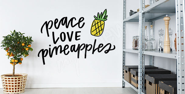 Typografischer Sticker mit Ananas