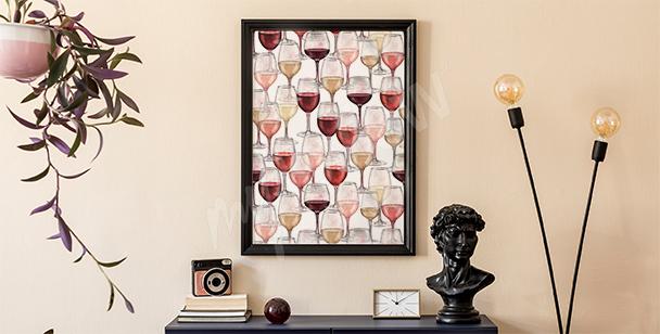 Weinposter in Aquarell gemalt