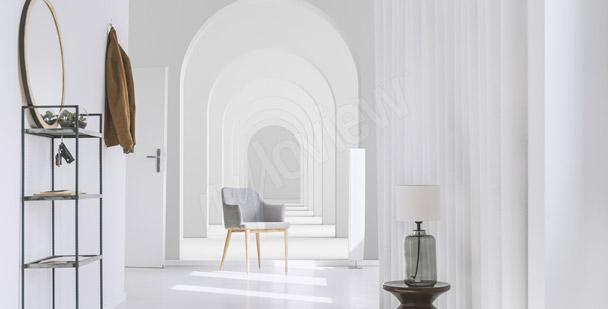 Weiße Fototapete Tunnel 3D
