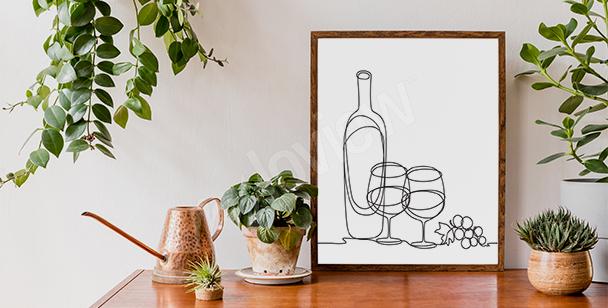 Wine line art Poster