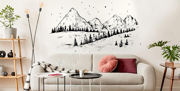 Wintersticker mit Bergen