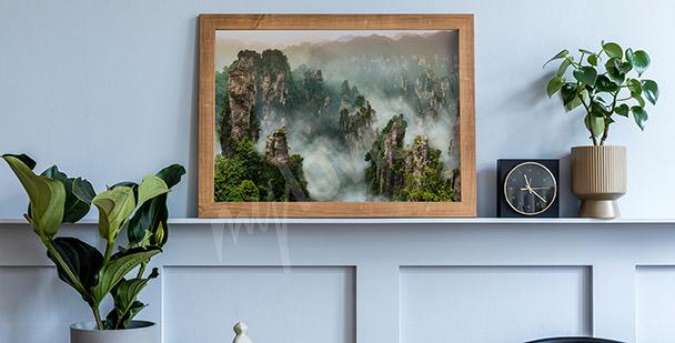 Poster Wald schwarz und weiß