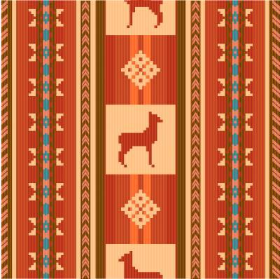 Fototapete Ornamentales ethnisches Gewebemuster mit Lamas